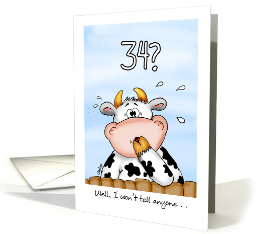 34th Birthday- Humorous Card with surprised cow card (1023059)