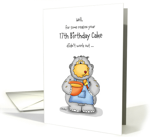 17th Birthday- Humorous Card with baking Hippo card (1026027)