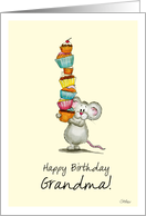 Happy Birthday Grandma - Cute Mouse with a pile of cupcakes card