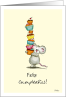 Feliz Cumpleaños!- Spanish Birthday Card - Cute Mouse with cupcakes card