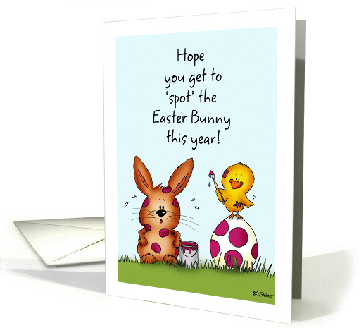 Chick is spotting the Easter Bunny - Humorous Easter card (1047845)