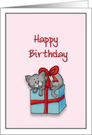 Happy Birthday General - Whimsical Cat tied up on top of a Gift card