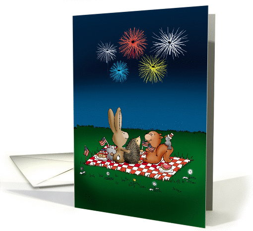 Humorous 4th of July Card with Fireworks - Friends on... (1282402)
