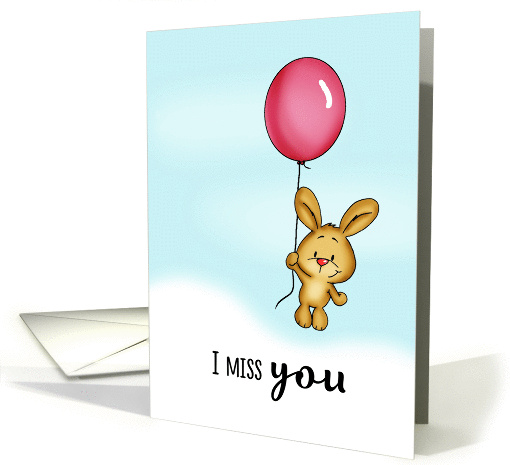 I miss you - Cute Bunny with Balloon! card (1434550)
