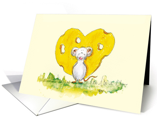 I love you - Cute Mouse in Love with Cheese Heart card (639202)