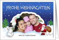 Frohe Weihnachten German Christmas with Santa Claus and Snowman card