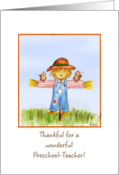 Thankful for a wonderful Preschool Teacher - Thanksgiving card