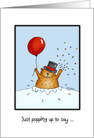 Groundhog Day - Groundhog with Balloon with Hat and Confetti card
