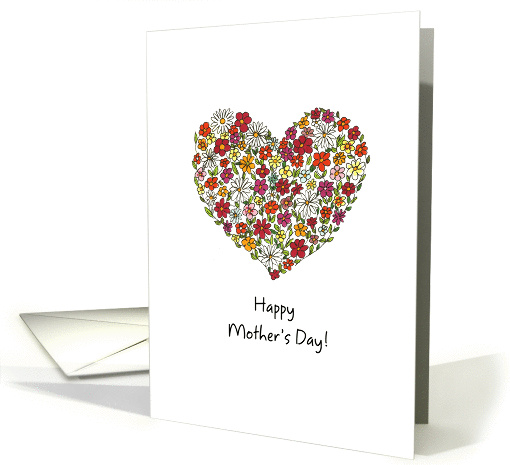 Mother's Day, Colorful Flowers in a Heart card (892478)
