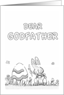 Happy Easter Godfather - coloring - Cute Bunny with Egg card