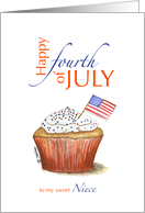 Niece - Happy fourth of July - Independence Day card