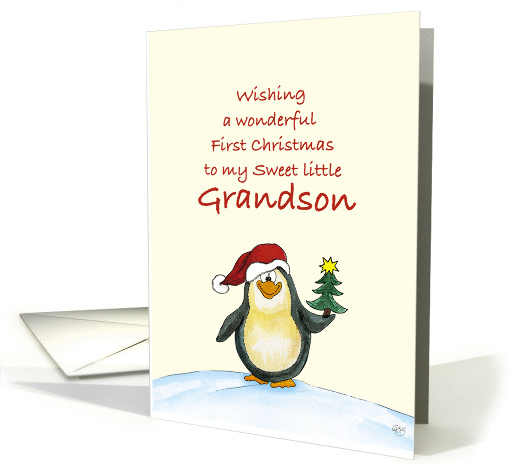 First Christmas for Grandson- Cute Christmas Card with Penguin card