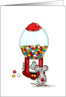 Cute Mouse with gumball Machine card