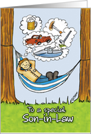 Humorous Father's Day Card for Son in Law - Relaxed Dad in Hammock card