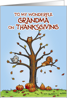 Happy Thanksgiving Grandma - Autumn Tree with Pumpkins card