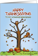 Happy Thanksgiving to my wonderful husband, Autumn Tree with Pumpkins card