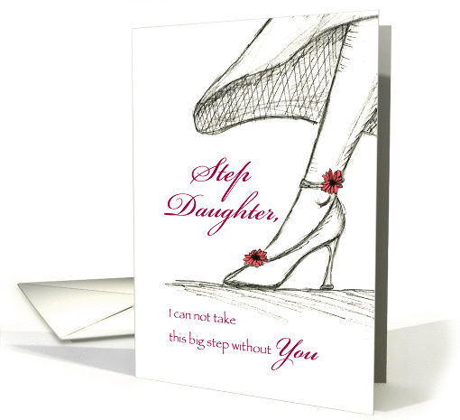Step Daughter - Be my Maid of Honor - Sketch of a High Heel card