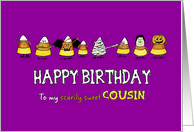 Humorous Halloween - Birthday for Cousin - Candy Cone Parade card