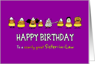Humorous Halloween - Birthday for Sister-in-Law - Candy Cone Parade card