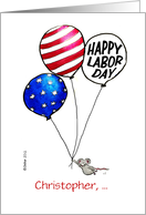Personalize with name Humorous Happy Labor Day - Mouse with Ballon in card
