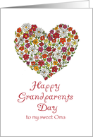 Happy Grandparents Day - to my sweet Oma - Flower Heart card