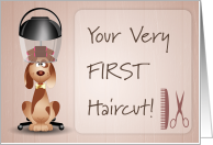 First Haircut with Spotted Puppy card