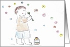 Boy Blowing Birthday Bubbles card