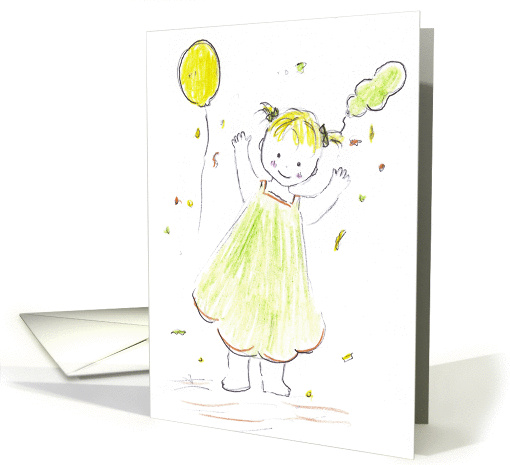 Girl Celebrates Holding Balloon-invitation card (655313)