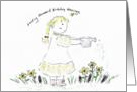 Girl Watering Flowers With Birthday Blessings card