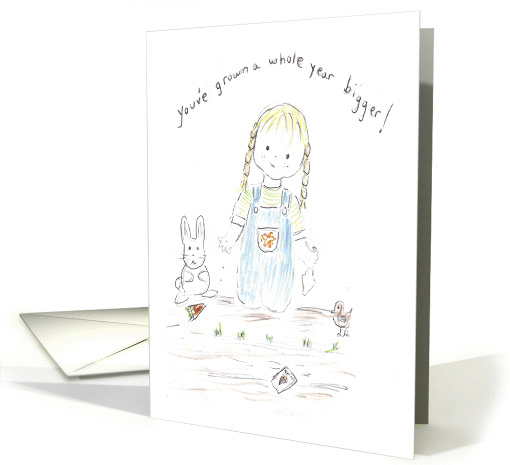 Girl in Garden Planting Carrots with Bunny-birthdday card (669293)