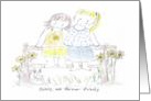 Two Sisters Sitting on Fence Hugging-Thinking of You card