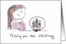 Missing You At Christmas, Girl Looking into Snow Globe card