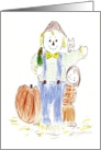 scarecrow with girl at Thanksgiving time card