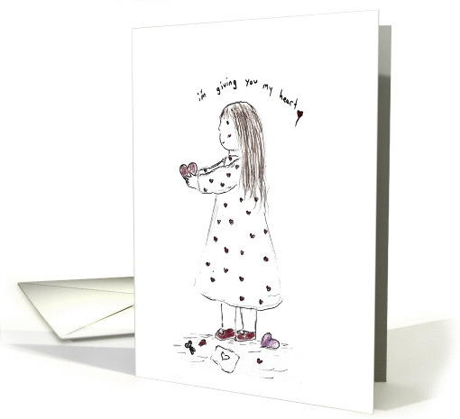 Girl Giving Away Her Heart-Valentine's Day card (750923)