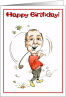 Birthday boy, golfer enjoying a swing card
