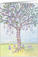 Purple Ribboned Easter Egg Tree Ripe with Colored Eggs card