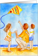 Happy Father's Day Dad Kite Flying with Kids card