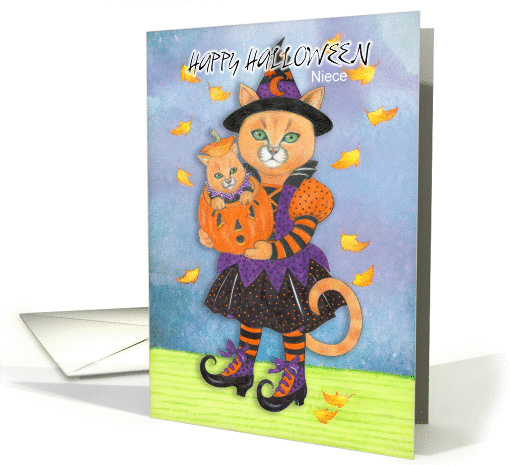 Happy Halloween Niece Witch Cat and Pumpkin Kitty card (1331368)