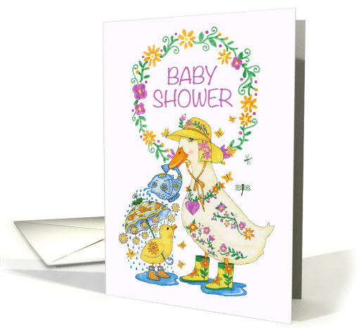 Baby Shower Invitation with Mother Duck and Chick in Rain Boots card
