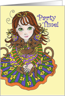 Girl with Party Cats Party Time card