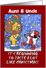 Customizable Christmas for Aunt & Uncle- Catch Snowflakes card