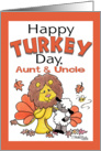 Happy Turkey Day Thanksgiving Greetings for Aunt and Uncle- Lion and Lamb Dressed as Turkeys card