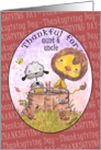 Happy Thanksgiving Day for Aunt & Uncle-Lion and Lamb Thankful card