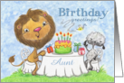 Happy Birthday for Aunt -Lion and Lamb -Birthday Party card