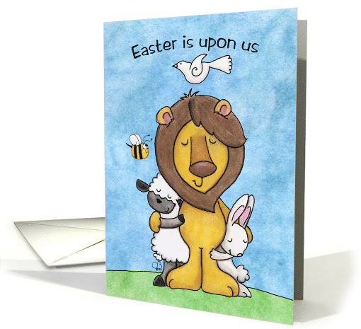 Happy Easter, Lion and Lamb with Bunny and Dove card (1395674)