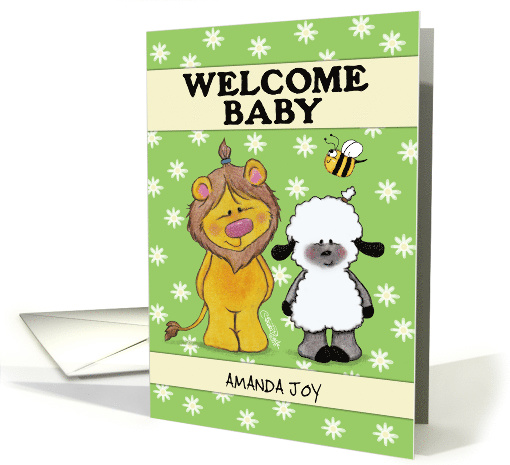 Customizable Welcome Baby, Lion and Lamb Babies in Green... (1438242)