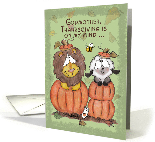 Thanksgiving for Godmother-Lion and Lamb in Pumpkins card (665552)