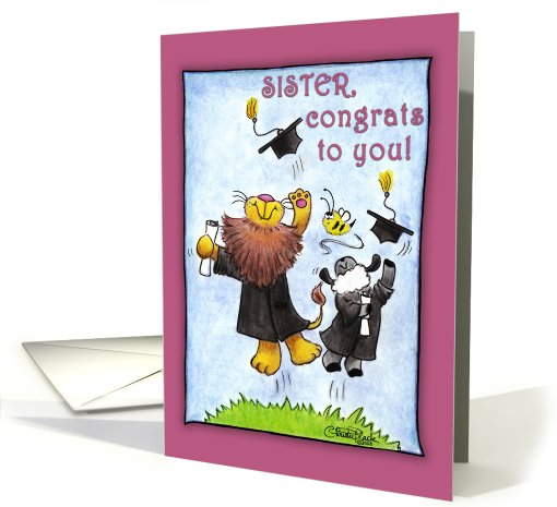 Graduation For Sister-Lion and Lamb-Hats Off card (678810)
