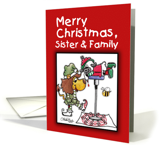 Christmas For Sister and family-Lion and Lamb-Making Candy Canes card