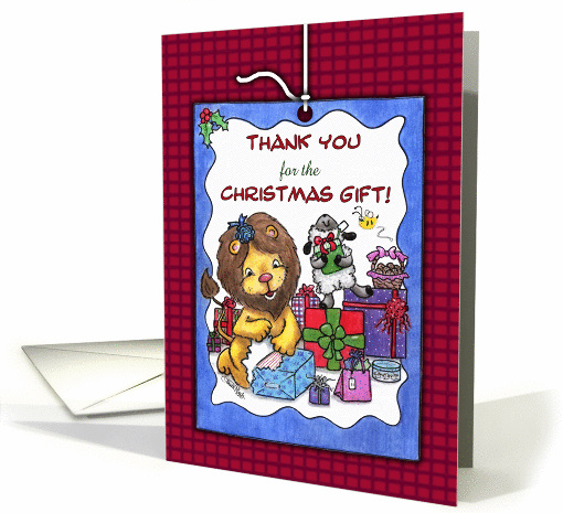 Thank You for Christmas Gift-Lion and Lamb -Presents card (888900)